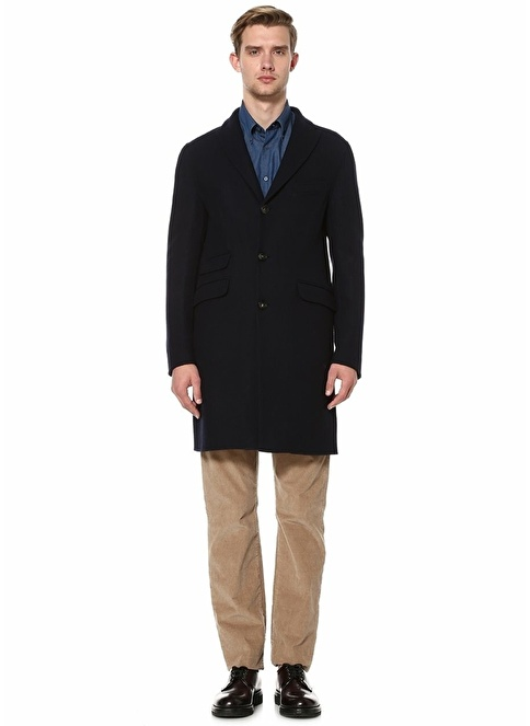 Beymen Collection İngiliz Yaka Klasik Yün Palto Lacivert